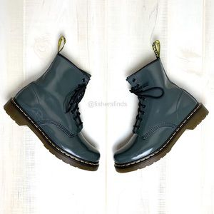 Dr. Martens 1460 Grey Patent Leather Boots Size 10